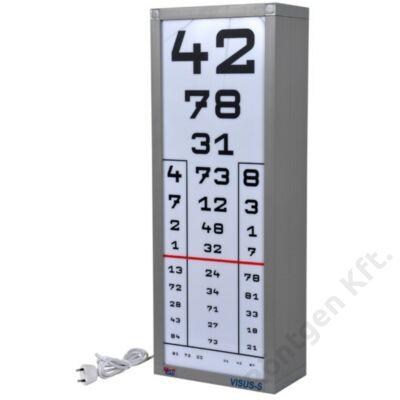 Látásvizsgáló tábla 1 oszlopos 1 db tetszőleges előlappal együtt